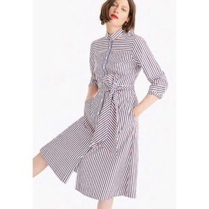 J. CREW ✨NWT✨ Striped Tie-Waist Belted Shirtdress